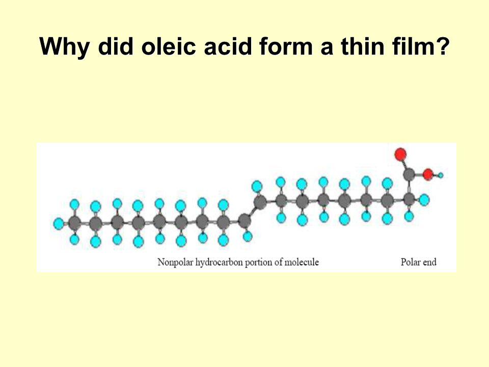 Why did oleic acid form a thin film