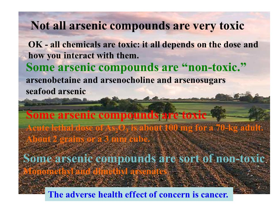 Not all arsenic compounds are very toxic Some arsenic compounds are non-toxic. arsenobetaine and arsenocholine and arsenosugars seafood arsenic OK - a