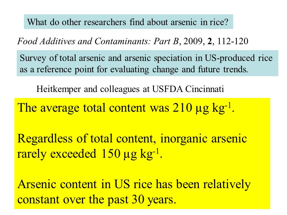What do other researchers find about arsenic in rice? Survey of total arsenic and arsenic speciation in US-produced rice as a reference point for eval