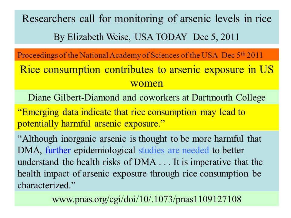 Researchers call for monitoring of arsenic levels in rice By Elizabeth Weise, USA TODAY Dec 5, 2011 Proceedings of the National Academy of Sciences of