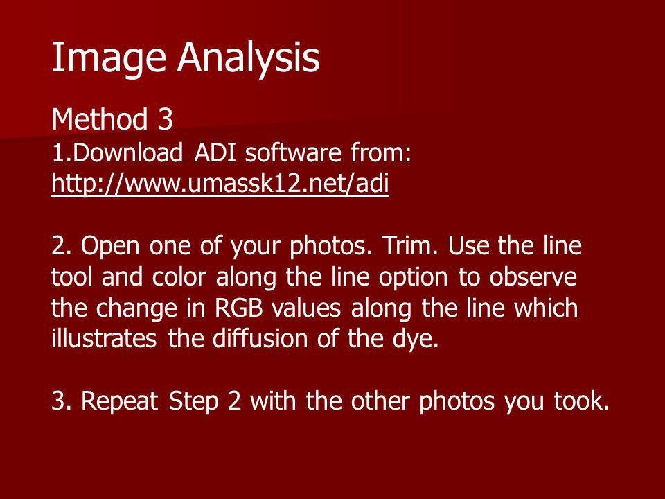 Image Analysis Method 3 1.Download ADI software from: http://www.umassk12.net/adi 2. Open one of your photos. Trim. Use the line tool and color along