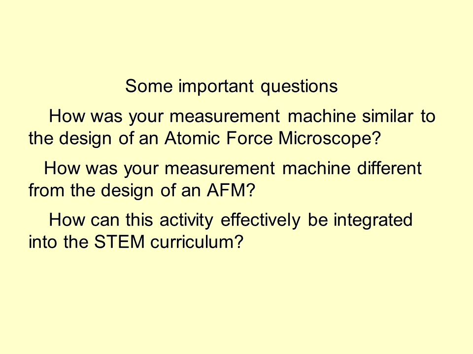 Some important questions How was your measurement machine similar to the design of an Atomic Force Microscope? How was your measurement machine differ