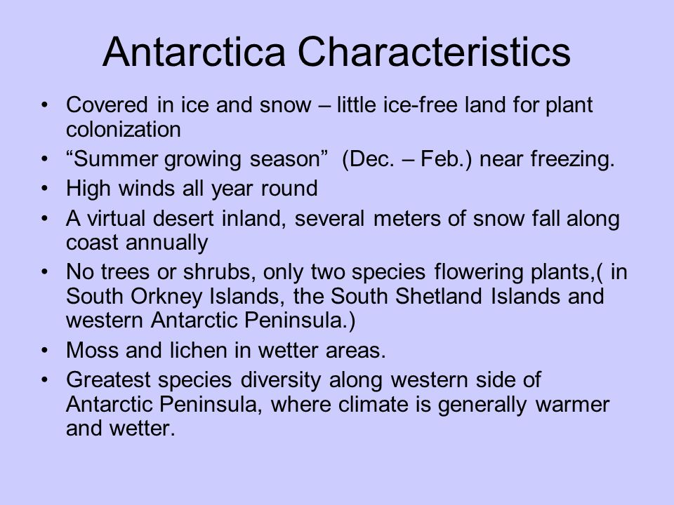 Antarctica Characteristics Covered in ice and snow – little ice-free land for plant colonization Summer growing season (Dec. – Feb.) near freezing. Hi