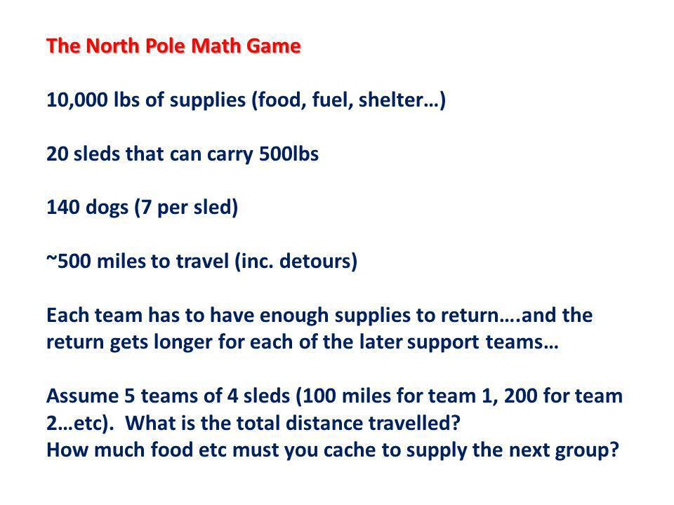 The North Pole Math Game 10,000 lbs of supplies (food, fuel, shelter…) 20 sleds that can carry 500lbs 140 dogs (7 per sled) ~500 miles to travel (inc.