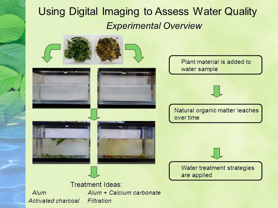Experimental Overview Using Digital Imaging to Assess Water Quality Plant material is added to water sample Natural organic matter leaches over time Treatment Ideas AlumAlum + Calcium carbonate Activated charcoal Filtration Digital images used to track leaching process Water treatment strategies are applied Digital images used to track treatment progress