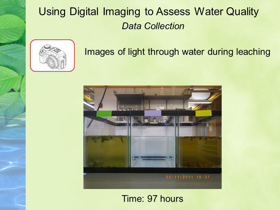 Using Digital Imaging to Assess Water Quality Data Collection Images of light through water during leaching Time: 97 hours