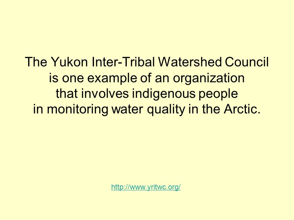 The Yukon Inter-Tribal Watershed Council is one example of an organization that involves indigenous people in monitoring water quality in the Arctic.