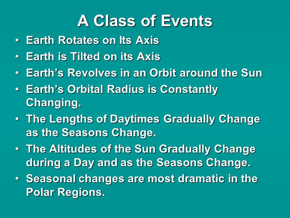 A Class of Events Earth Rotates on Its AxisEarth Rotates on Its Axis Earth is Tilted on its AxisEarth is Tilted on its Axis Earths Revolves in an Orbit around the SunEarths Revolves in an Orbit around the Sun Earths Orbital Radius is Constantly Changing.Earths Orbital Radius is Constantly Changing.