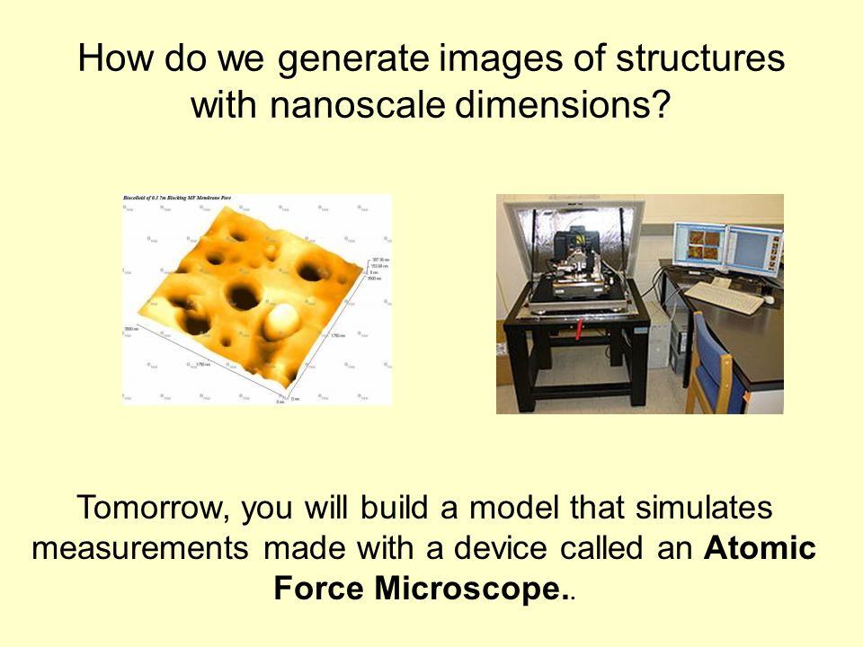 How do we generate images of structures with nanoscale dimensions? Tomorrow, you will build a model that simulates measurements made with a device cal