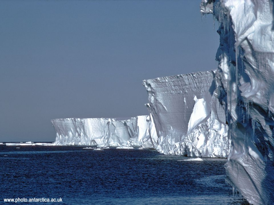 Warming and ice sheets Adjoining floating ice sheets might start to disintegrate with warming Icebergs could then break off the continental shelves Partially offset by increased snowfall with warming Perhaps eventual a few meter rise in sea levels