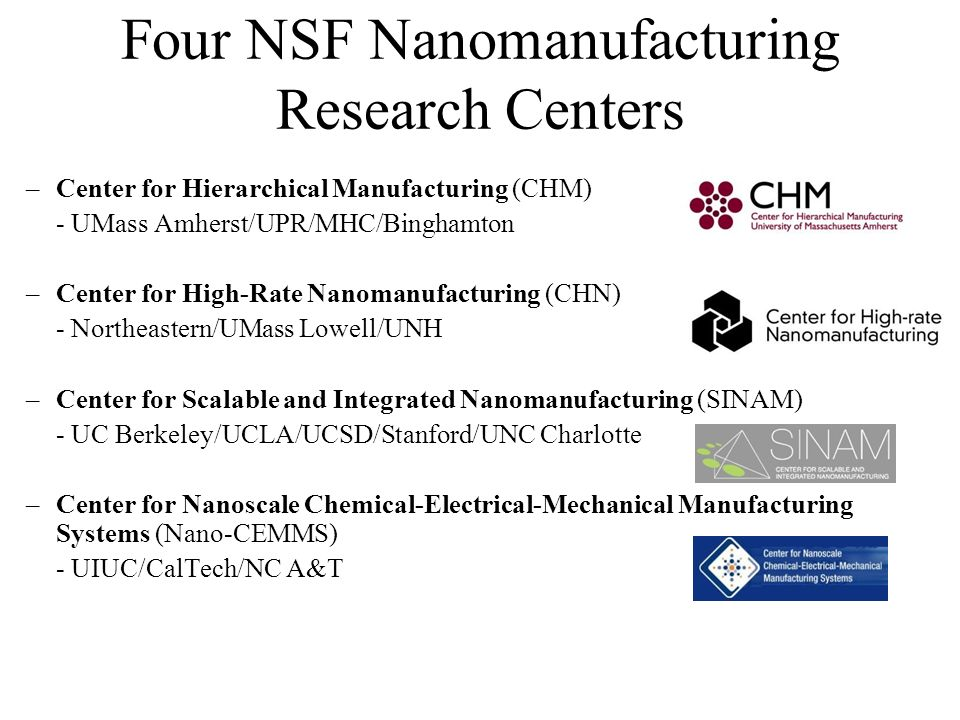 Four NSF Nanomanufacturing Research Centers –Center for Hierarchical Manufacturing (CHM) - UMass Amherst/UPR/MHC/Binghamton –Center for High-Rate Nanomanufacturing (CHN) - Northeastern/UMass Lowell/UNH –Center for Scalable and Integrated Nanomanufacturing (SINAM) - UC Berkeley/UCLA/UCSD/Stanford/UNC Charlotte –Center for Nanoscale Chemical-Electrical-Mechanical Manufacturing Systems (Nano-CEMMS) - UIUC/CalTech/NC A&T