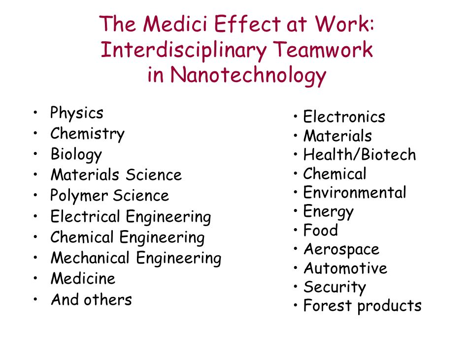 The Medici Effect at Work: Interdisciplinary Teamwork in Nanotechnology Physics Chemistry Biology Materials Science Polymer Science Electrical Engineering Chemical Engineering Mechanical Engineering Medicine And others Electronics Materials Health/Biotech Chemical Environmental Energy Food Aerospace Automotive Security Forest products