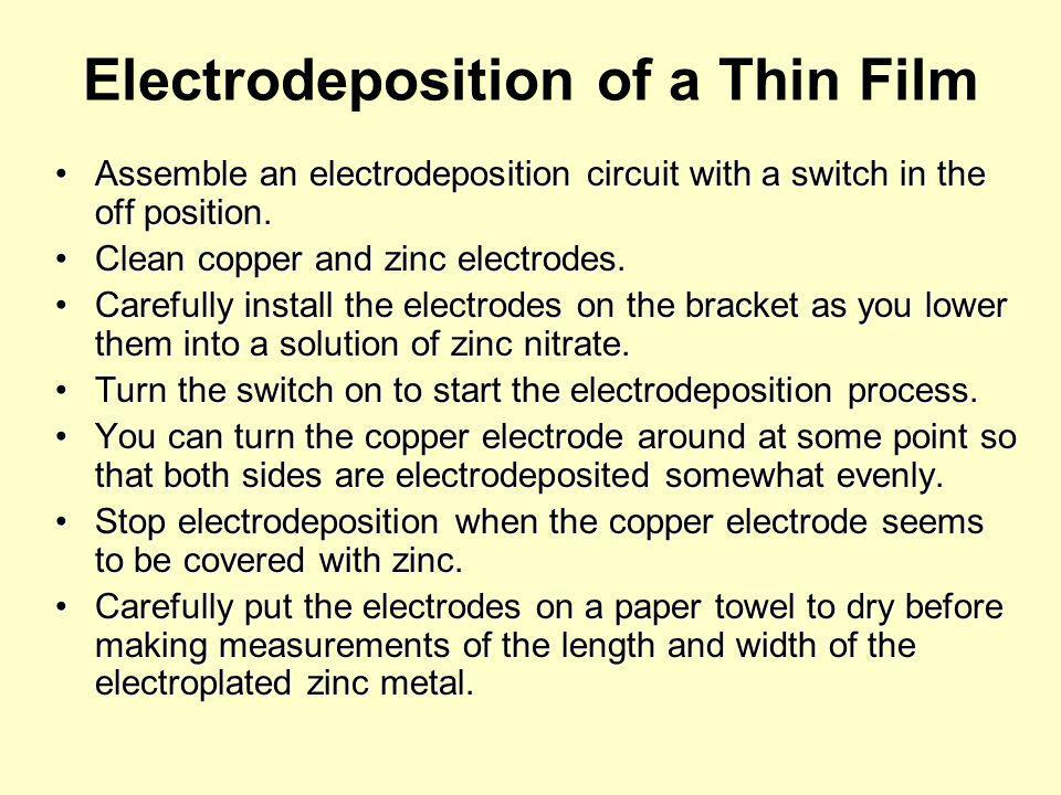 The Gibbs Free Energy Equation can be used to describe electrodeposition.