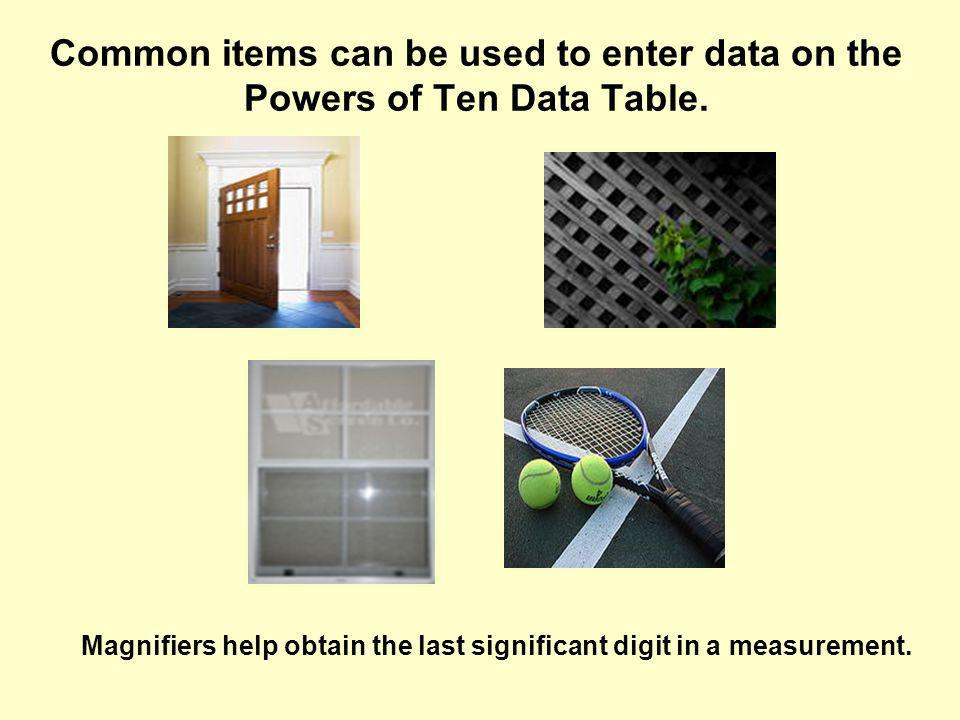 Common items can be used to enter data on the Powers of Ten Data Table.