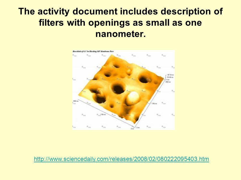 The activity document includes description of filters with openings as small as one nanometer.