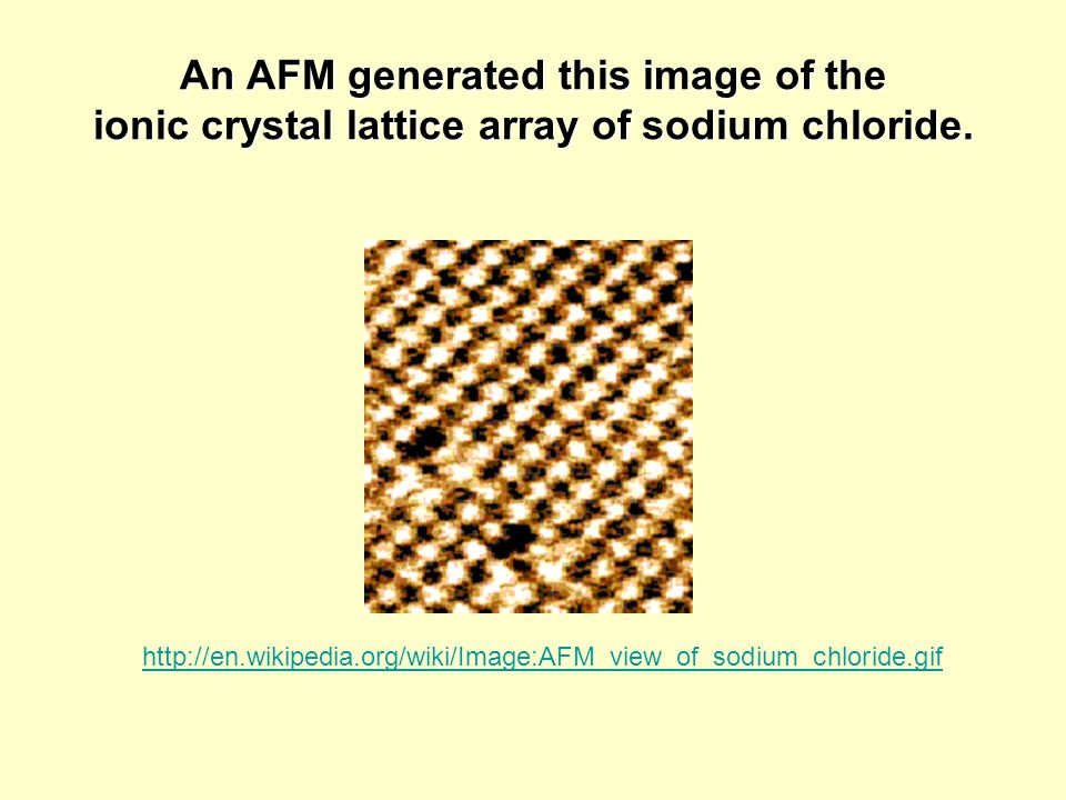 An AFM generated this image of the ionic crystal lattice array of sodium chloride.