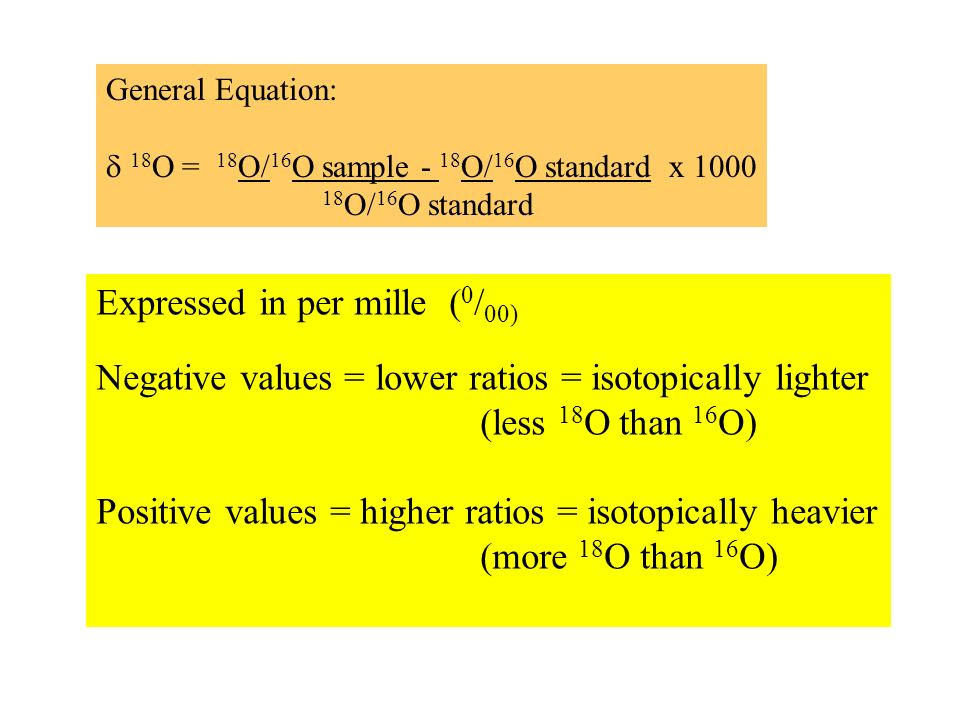General Equation: 18 O = 18 O/ 16 O sample - 18 O/ 16 O standard x 1000 18 O/ 16 O standard Expressed in per mille ( 0 / 00) Negative values = lower ratios = isotopically lighter (less 18 O than 16 O) Positive values = higher ratios = isotopically heavier (more 18 O than 16 O)