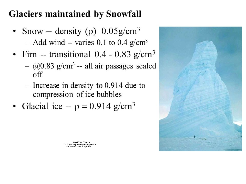 Glaciers maintained by Snowfall Snow -- density ( g/cm 3 –Add wind -- varies 0.1 to 0.4 g/cm 3 Firn -- transitional 0.4 - 0.83 g/cm 3 –@0.83 g/cm 3 --