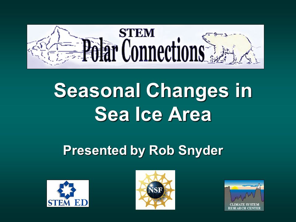 Seasonal Changes in Sea Ice Area Presented by Rob Snyder