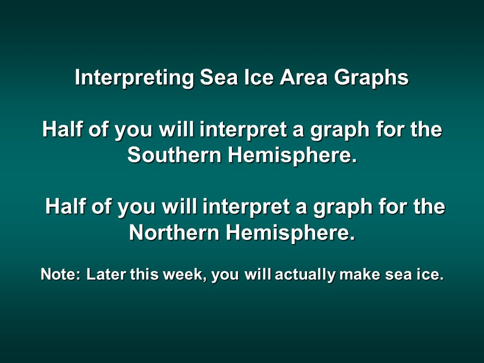 The Northern Hemisphere group will interpret this graph. http://arctic.atmos.uiuc.edu/cryosphere/