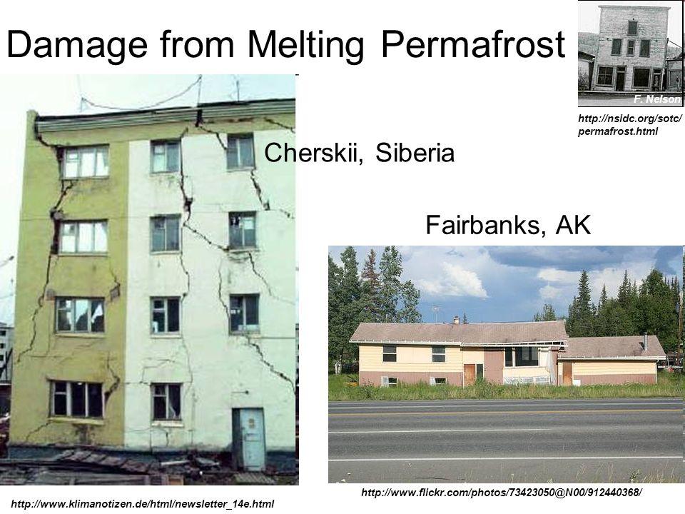 Damage from Melting Permafrost F. Nelson http://www.klimanotizen.de/html/newsletter_14e.html http://nsidc.org/sotc/ permafrost.html http://www.flickr.