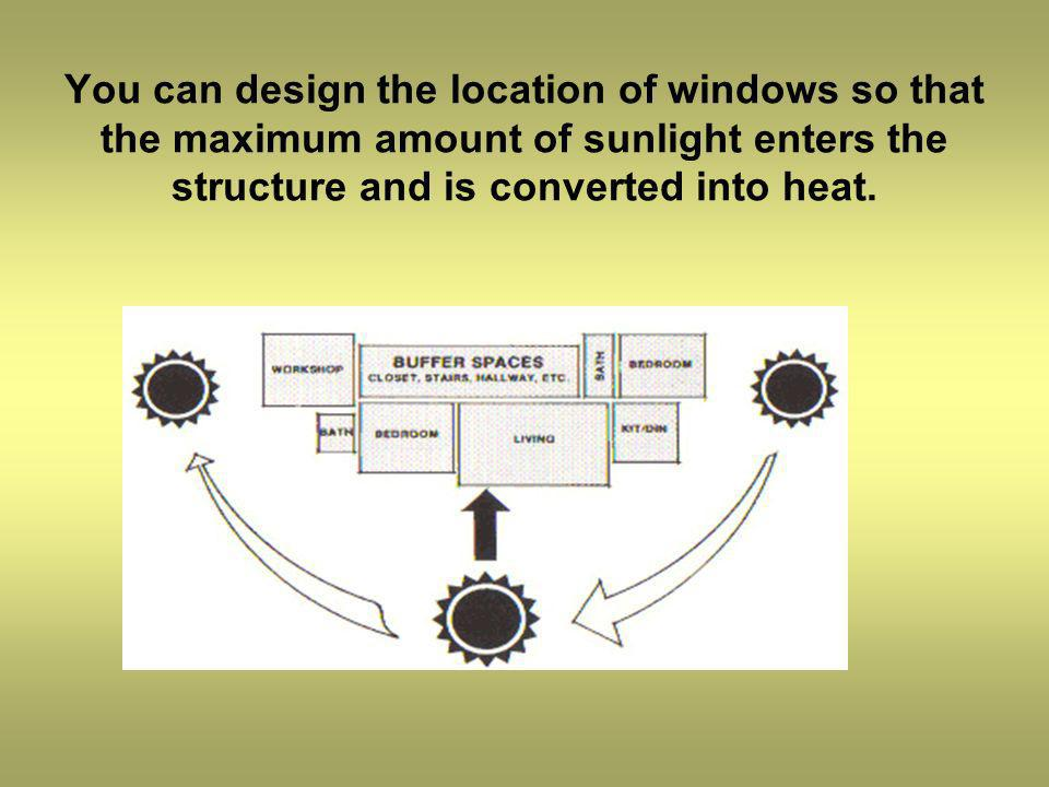 You can design the location of windows so that the maximum amount of sunlight enters the structure and is converted into heat..