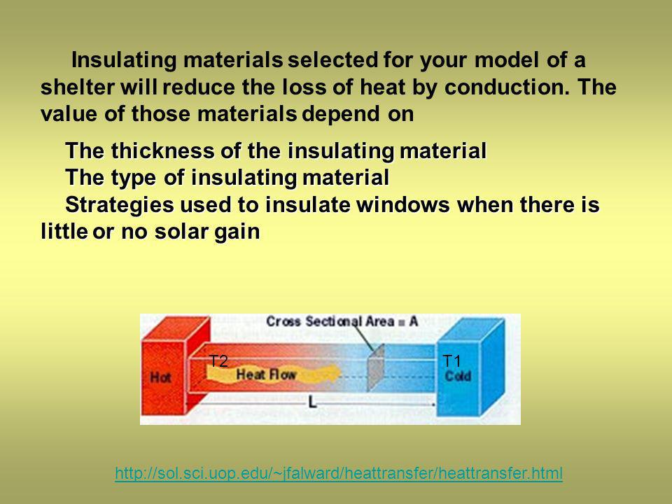 The thickness of the insulating material The type of insulating material Strategies used to insulate windows when there is little or no solar gain Insulating materials selected for your model of a shelter will reduce the loss of heat by conduction.
