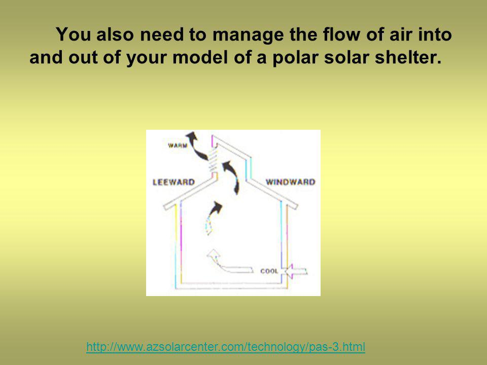 You also need to manage the flow of air into and out of your model of a polar solar shelter.