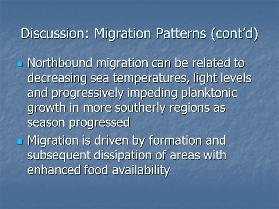 Discussion: Migration Patterns (contd) Northbound migration can be related to decreasing sea temperatures, light levels and progressively impeding planktonic growth in more southerly regions as season progressed Northbound migration can be related to decreasing sea temperatures, light levels and progressively impeding planktonic growth in more southerly regions as season progressed Migration is driven by formation and subsequent dissipation of areas with enhanced food availability Migration is driven by formation and subsequent dissipation of areas with enhanced food availability