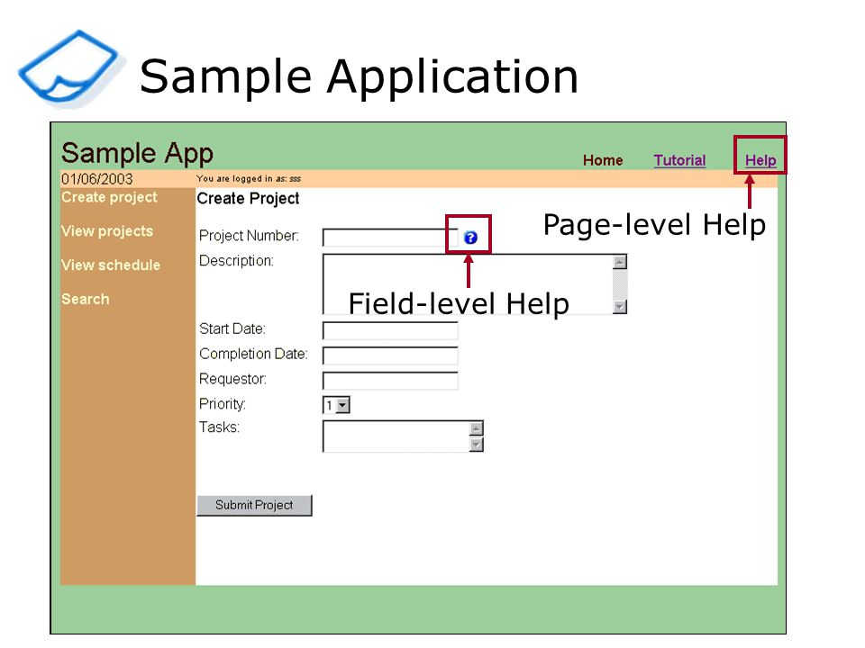 Sample Application Field-level HelpPage-level Help
