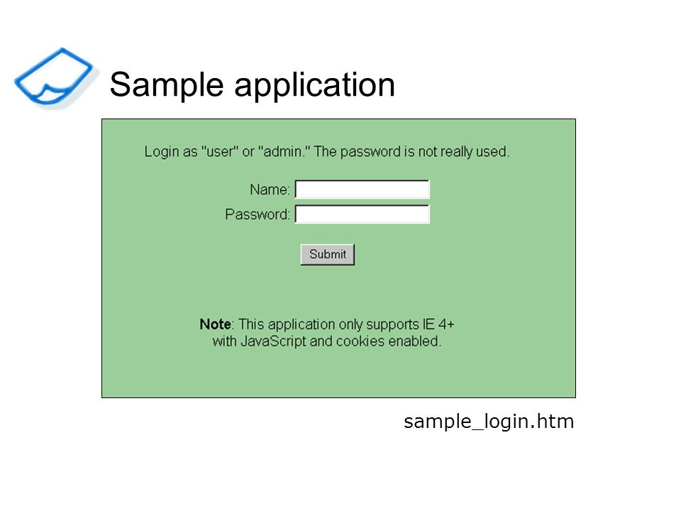 sample_login.htm Sample application