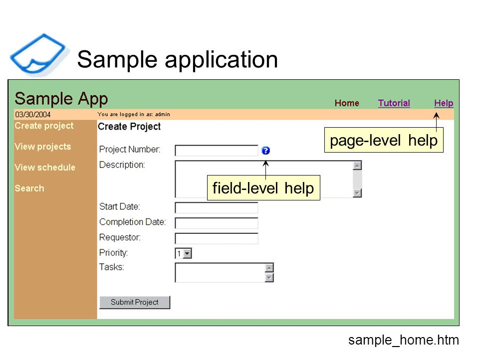 field-level help page-level help sample_home.htm Sample application