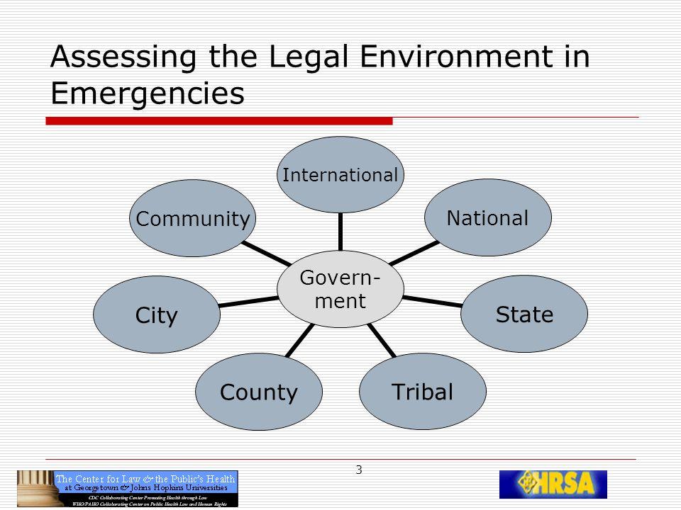 4 Assessing the Legal Environment in Emergencies Types of Laws TreatiesConstitutionsStatutesRegulationsPoliciesCasesCompacts