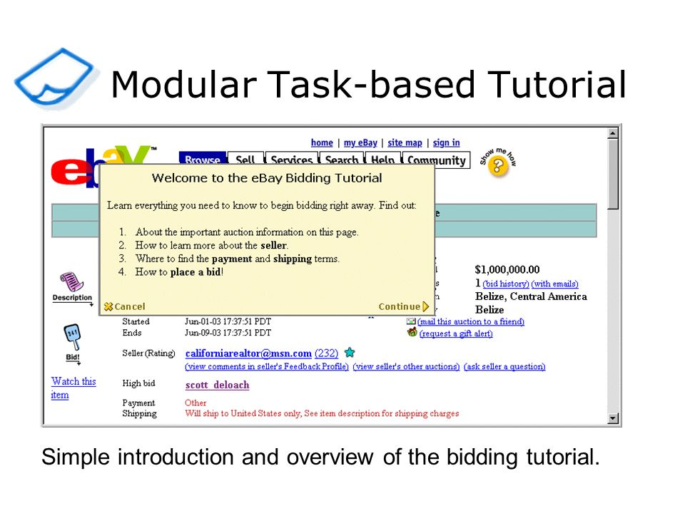 Simple introduction and overview of the bidding tutorial. Modular Task-based Tutorial