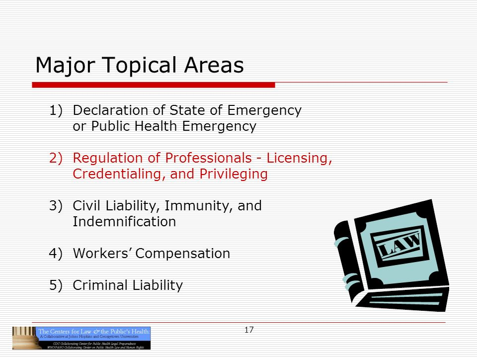 17 Major Topical Areas 1)Declaration of State of Emergency or Public Health Emergency 2)Regulation of Professionals - Licensing, Credentialing, and Privileging 3)Civil Liability, Immunity, and Indemnification 4)Workers Compensation 5)Criminal Liability