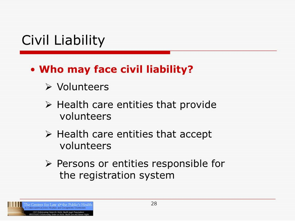 28 Civil Liability Who may face civil liability.