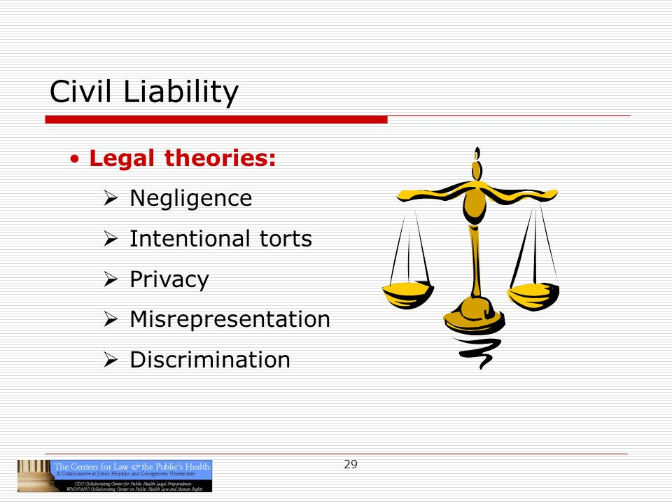 29 Civil Liability Legal theories: Negligence Intentional torts Privacy Misrepresentation Discrimination