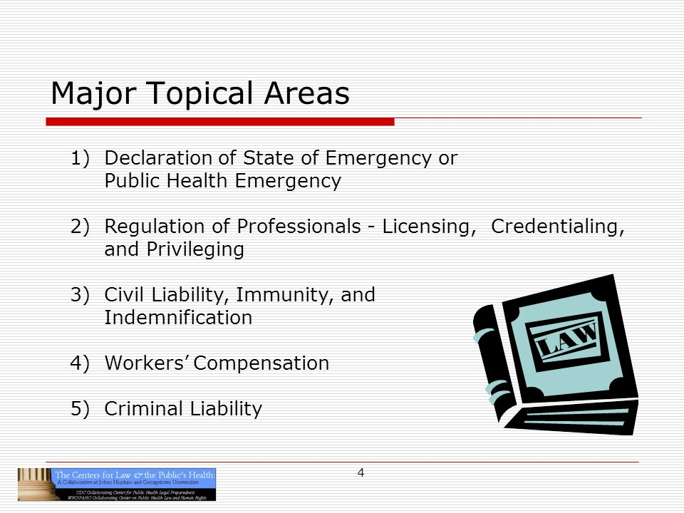 5 Emergency Declarations Before 9/11: Focus of existing state legal infrastructures on general emergency responses All hazards or disasters approach After 9/11: Reforms of emergency response laws by many states to address public health emergencies Based in part on the Centers Model State Emergency Health Powers Act (MSEHPA)