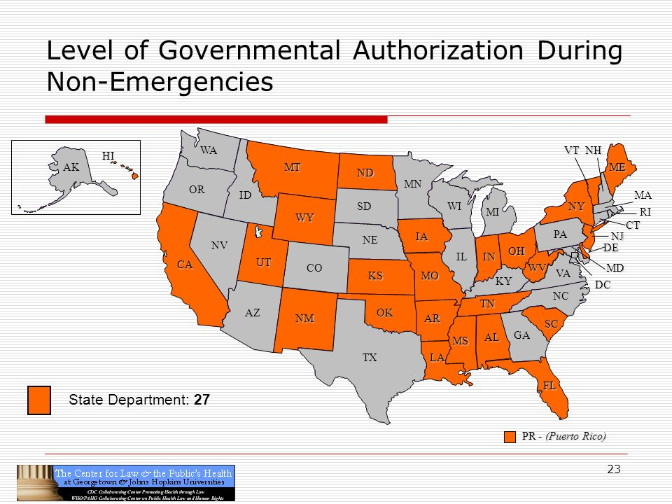 23 CA OR WA ID MT TX SD WY NV OK KS NE CO NM AZ UT ND SC MN WI IA MO AR LA VA NC GA FL AL MS IL WV KY TN NY PA IN OH MI DE NJ CT ME DC MD NHVT PR - (Puerto Rico) HI AK Level of Governmental Authorization During Non-Emergencies RI MA State Department: 27