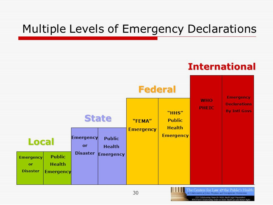 30 Multiple Levels of Emergency Declarations Local State Federal Emergency or Disaster Public Health Emergency or Disaster Public Health Emergency FEMA Emergency HHS Public Health Emergency International WHO PHEIC Emergency Declarations By Intl Govs
