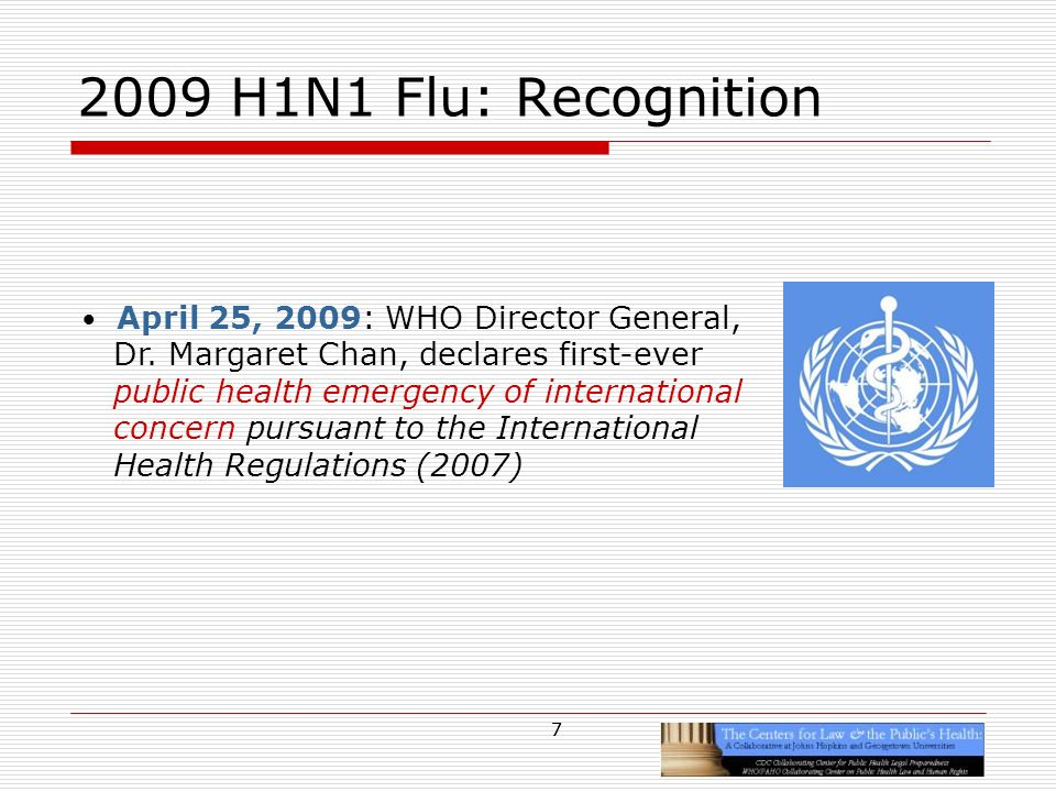 7 2009 H1N1 Flu: Recognition April 25, 2009: WHO Director General, Dr.