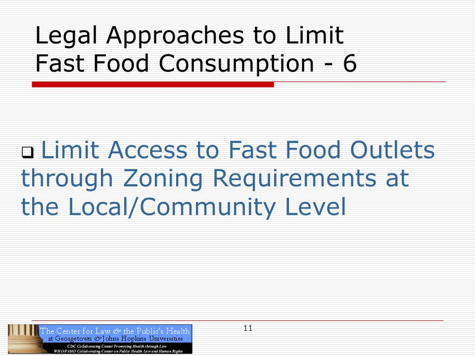 11 Legal Approaches to Limit Fast Food Consumption - 6 Limit Access to Fast Food Outlets through Zoning Requirements at the Local/Community Level
