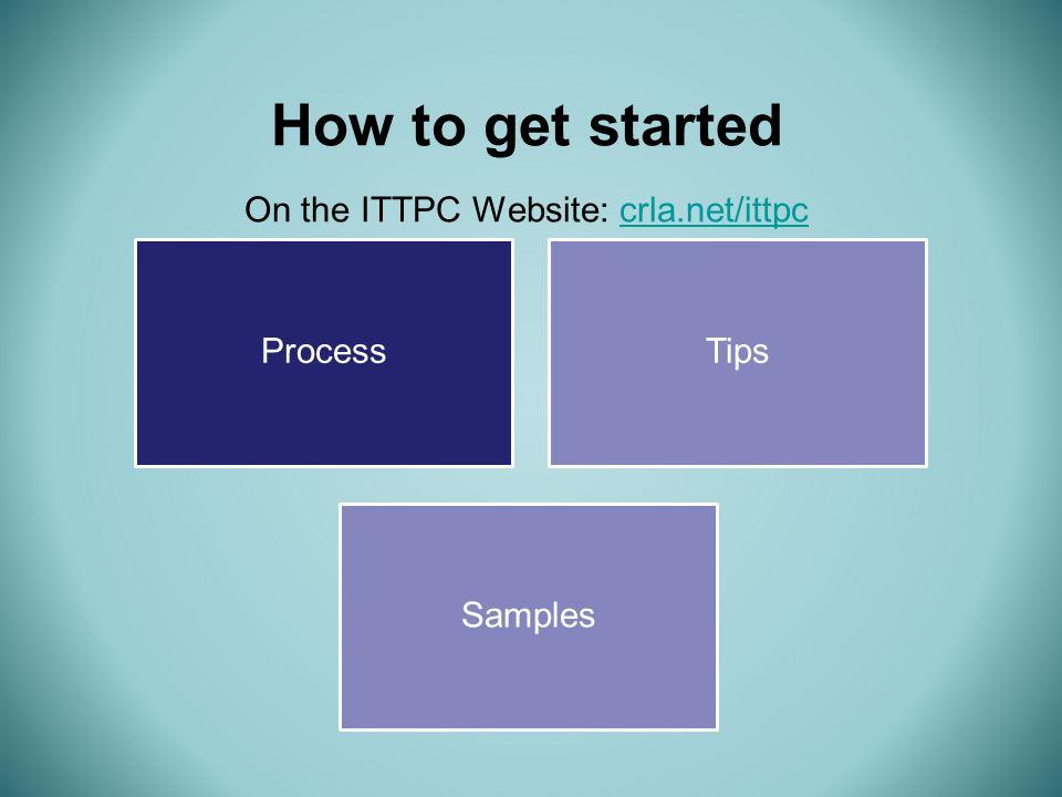 Process Tips Samples How to get started On the ITTPC Website: crla.net/ittpccrla.net/ittpc