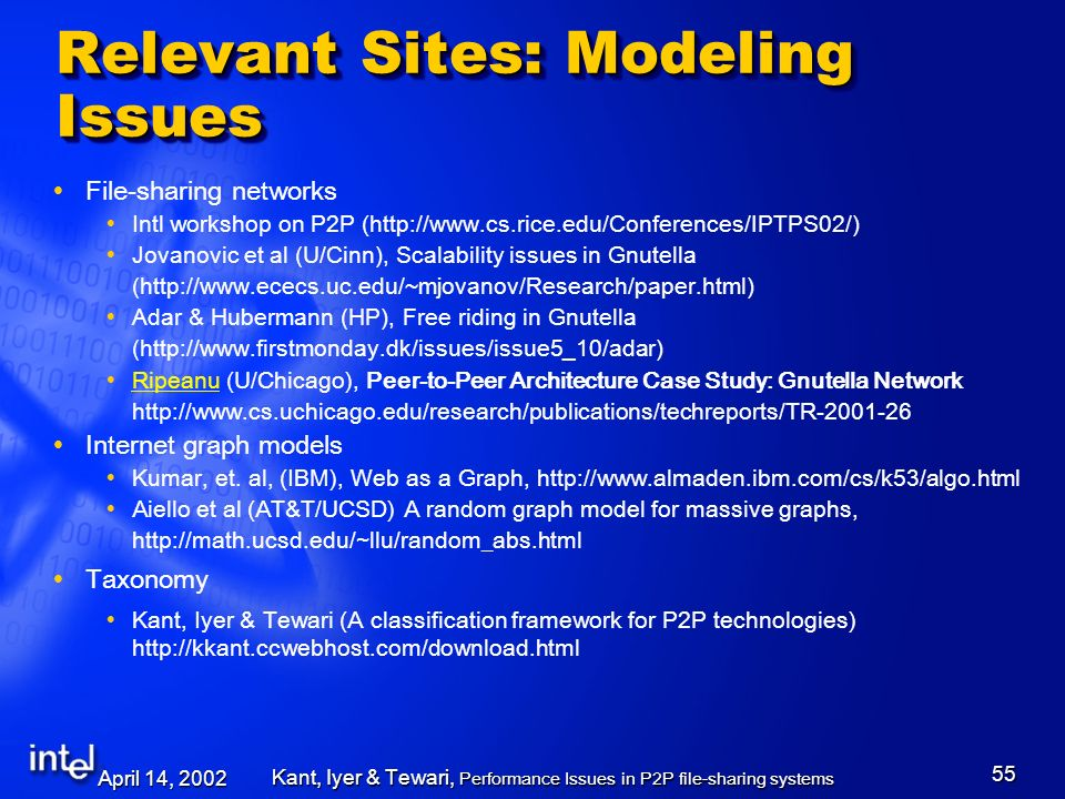 April 14, 2002 Kant, Iyer & Tewari, Performance Issues in P2P file-sharing systems 55 Relevant Sites: Modeling Issues File-sharing networks Intl workshop on P2P ( http://www.cs.rice.edu/Conferences/IPTPS02/) Jovanovic et al (U/Cinn), Scalability issues in Gnutella (http://www.ececs.uc.edu/~mjovanov/Research/paper.html) Adar & Hubermann (HP), Free riding in Gnutella (http://www.firstmonday.dk/issues/issue5_10/adar) Ripeanu (U/Chicago), Peer-to-Peer Architecture Case Study: Gnutella Network Ripeanu http://www.cs.uchicago.edu/research/publications/techreports/TR-2001-26 Internet graph models Kumar, et.