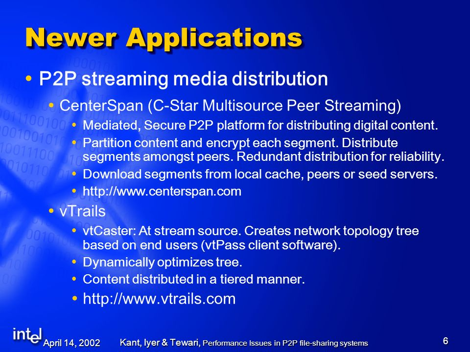 April 14, 2002 Kant, Iyer & Tewari, Performance Issues in P2P file-sharing systems 7 Newer Applications P2P Collaboration Networks A variety of applications: telemedicine, military planning, video- conferencing, document editing.