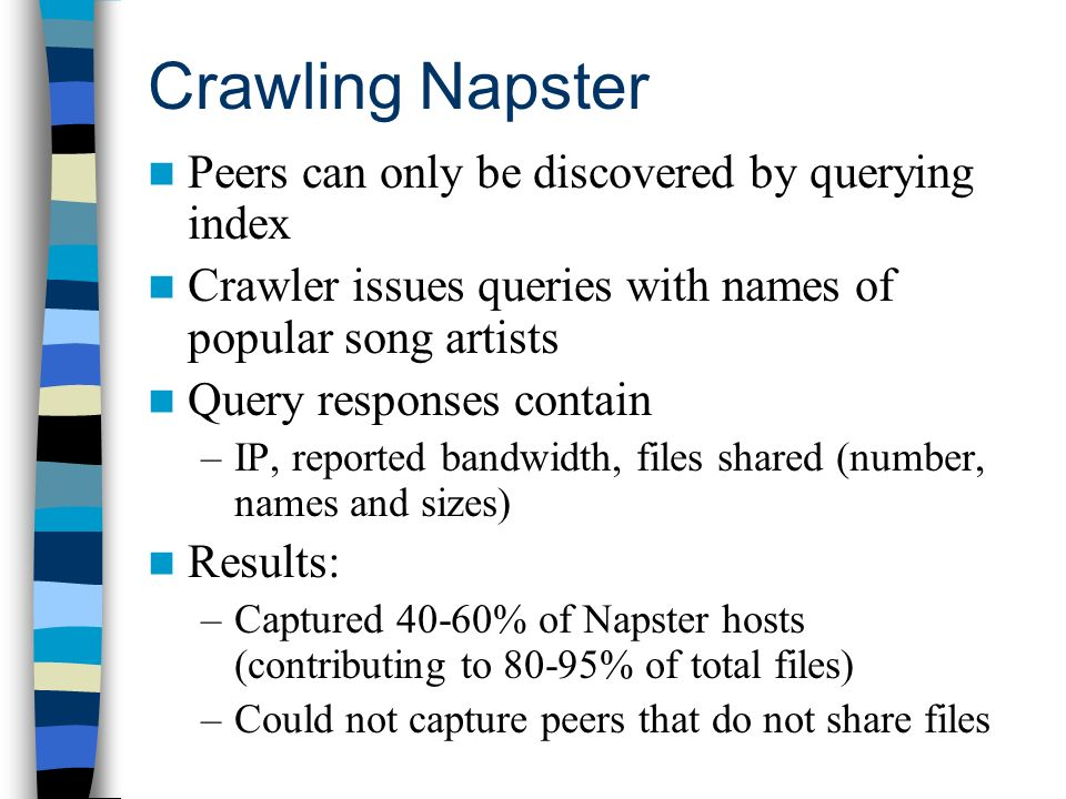 Crawling Napster Peers can only be discovered by querying index Crawler issues queries with names of popular song artists Query responses contain –IP, reported bandwidth, files shared (number, names and sizes) Results: –Captured 40-60% of Napster hosts (contributing to 80-95% of total files) –Could not capture peers that do not share files