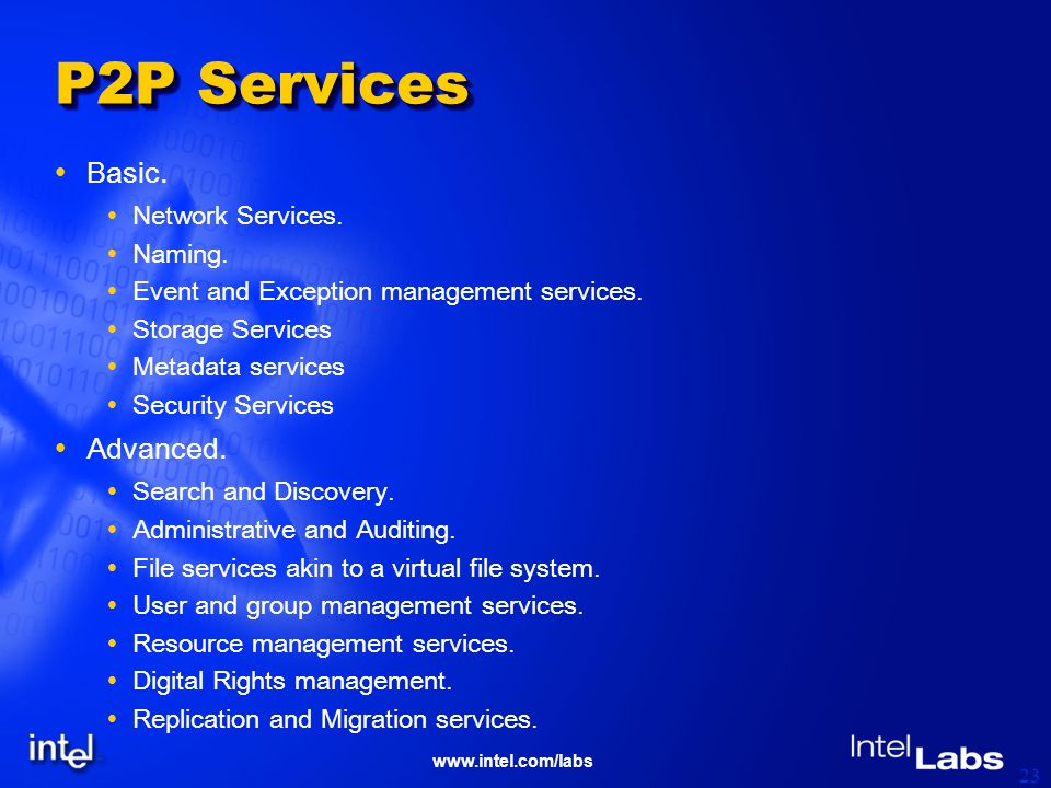 www.intel.com/labs 23 P2P Services Basic. Network Services.
