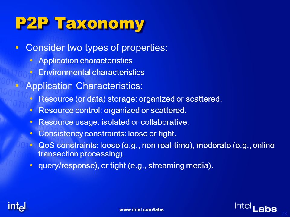 www.intel.com/labs 28 P2P Taxonomy Consider two types of properties: Application characteristics Environmental characteristics Application Characteristics: Resource (or data) storage: organized or scattered.