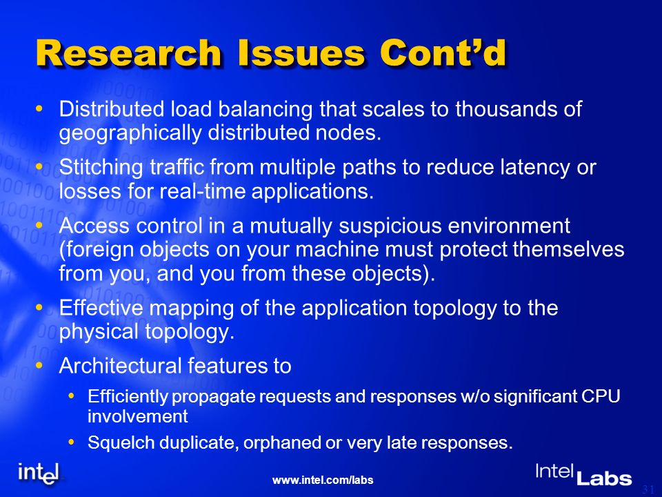 www.intel.com/labs 31 Research Issues Contd Distributed load balancing that scales to thousands of geographically distributed nodes. Stitching traffic