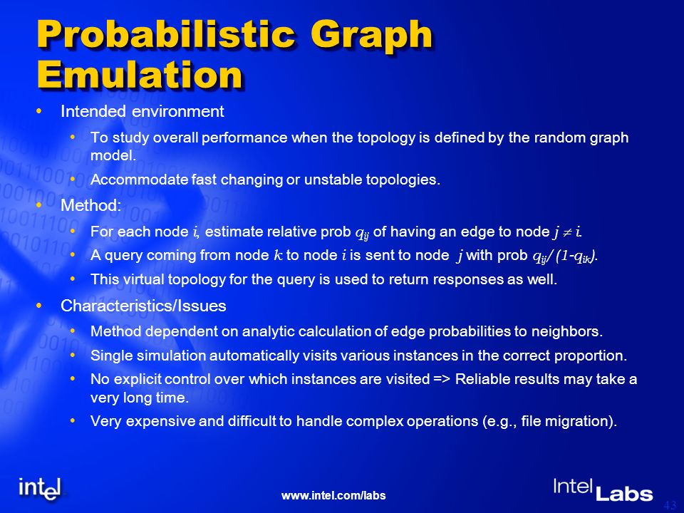 www.intel.com/labs 43 Probabilistic Graph Emulation Intended environment To study overall performance when the topology is defined by the random graph